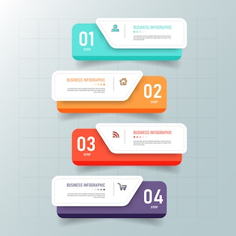 Creatieve infographic 4 stappen sjabloon