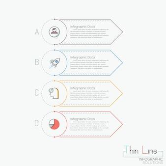 Creatieve infographic, 4 veelkleurige rechthoekige elementen met letters, pictogrammen en tekstvakken
