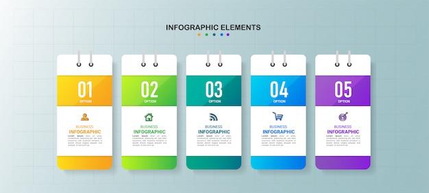 Creatieve infographic 5 stappen sjabloon.