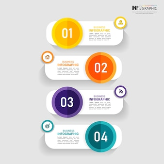 Creatieve infographic met vier stappen sjabloon
