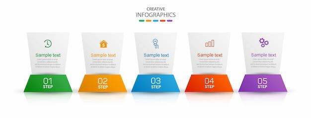 Creatieve infographic ontwerpsjabloon met 5 opties of stappen