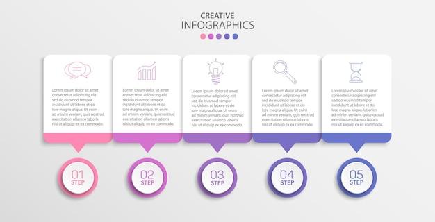 Creatieve infographic ontwerpsjabloon met 5 stappen