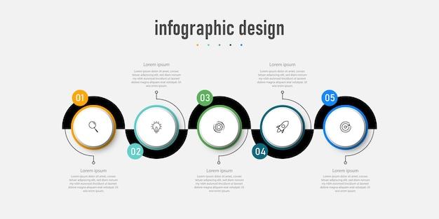 Creatieve infographic ontwerpsjabloonpresentatie met 5 opties
