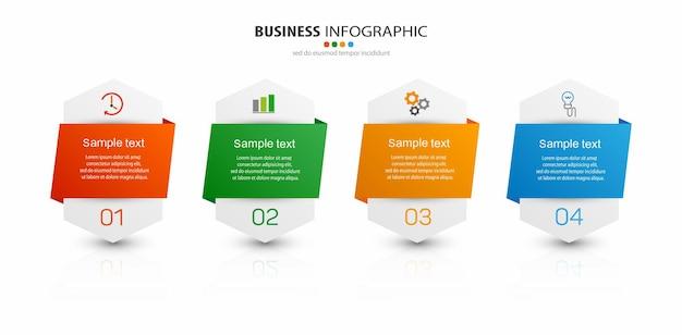 Creatieve infographic sjabloon met pictogrammen en 4 opties