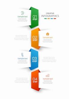 Creatieve infographic sjabloon met pictogrammen en 4 stappen