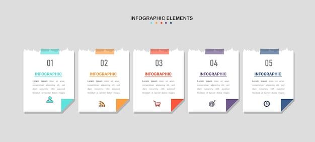 Creatieve infographic vijf stappen sjabloon