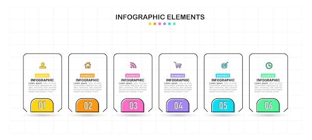 Creatieve infographic zes stappen sjabloon