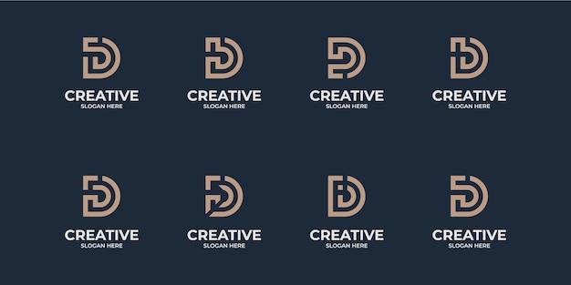 Creatieve initialen letter d monogram collectie
