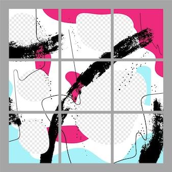Creatieve instagram-puzzelfeed met negen sjablonen