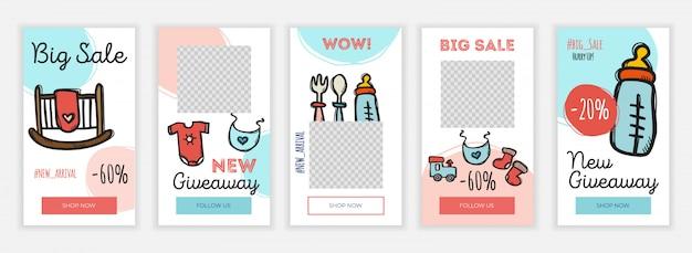 Creatieve instagram verhalen ontwerpsjabloon