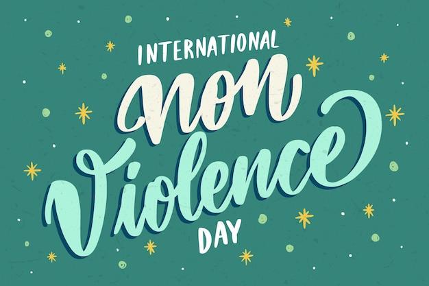 Creatieve internationale dag van geweldloosheid belettering