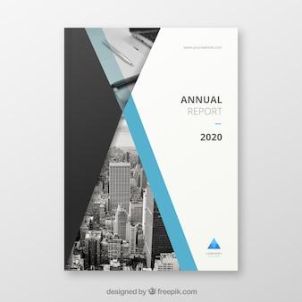 Creatieve jaarverslagomslag met afbeelding