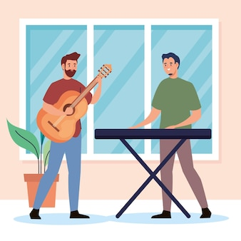 Creatieve jonge mannen gitaar en piano karakters spelen
