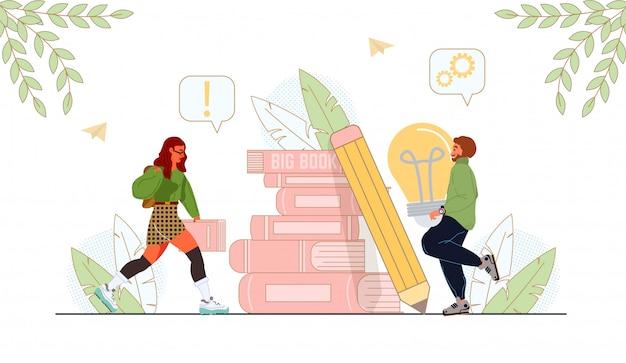 Creatieve jongeren met boekenstapel en potlood