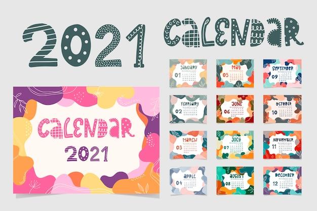 Creatieve kalender met abstracte kaders en bloemen