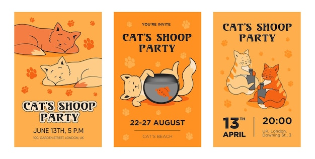 Creatieve kat partij uitnodiging sjabloon set. moderne instrumentale concertuitnodigingen met muziekinstrumenten.