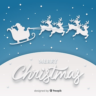 Creatieve kerst achtergrond in papier knippen stijl