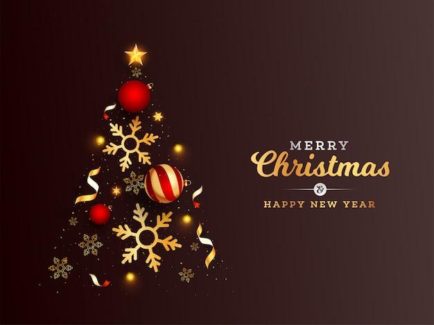 Creatieve kerstboom gemaakt door gouden sterren, sneeuwvlokken en kerstballen op bruin voor merry christmas & happy new year viering.