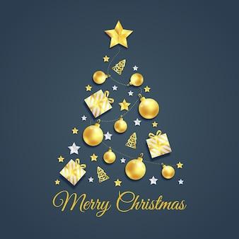 Creatieve kerstboom gemaakt met gouden elementen