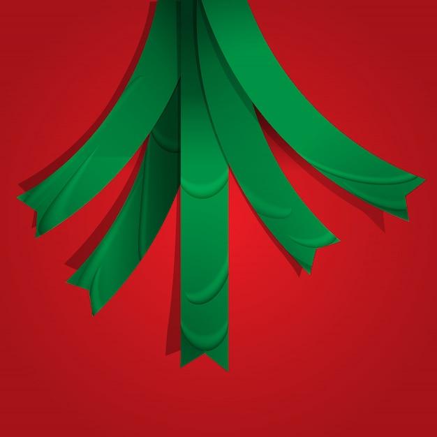 Creatieve kerstboom gevormd uit linten