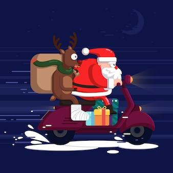 Creatieve kerstman en rendieren