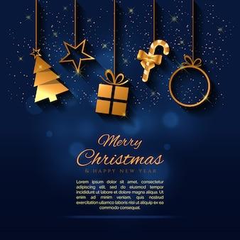 Creatieve kerstmisachtergrond met een gouden elementenvector
