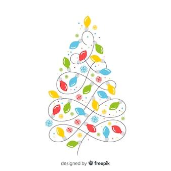 Creatieve kerstmisachtergrond met gloeilampenboom