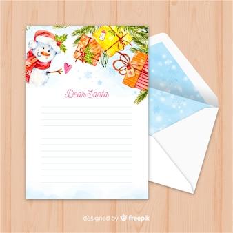 Creatieve kerstmisenvelop en brief in waterverfontwerp
