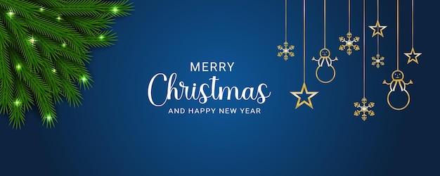 Creatieve kerstwenskaart met blauwe en gouden realistische achtergronddecoratie
