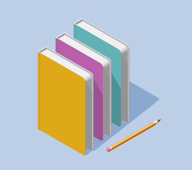 Creatieve kleurenillustratie van isometrische staande boeken met potlood en schaduw