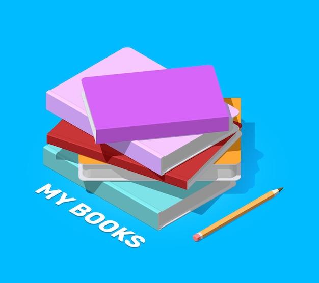 Creatieve kleurenillustratie van isometrische stapel boeken met potlood en tekst