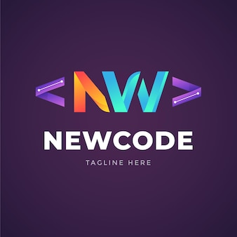 Creatieve kleurovergang code logo sjabloon