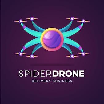 Creatieve kleurovergang drone logo sjabloon
