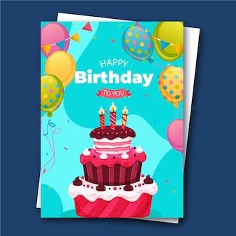 Creatieve kleurrijke cake beste verjaardagskaart