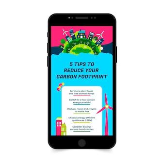 Creatieve kleurrijke co2-reductie omgeving instagram verhaal