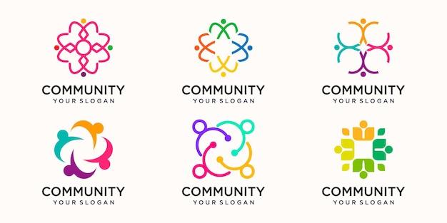 Creatieve kleurrijke gemeenschap logo ontwerpsjabloon. team van mensen samen pictogram geïsoleerd.