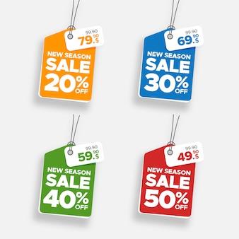 Creatieve kleurrijke hangende verkoopbanner en prijskaartjereeks