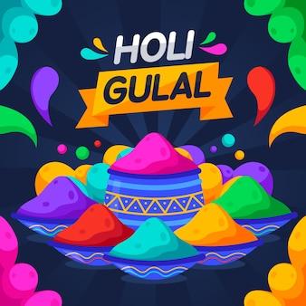 Creatieve kleurrijke holi gulal