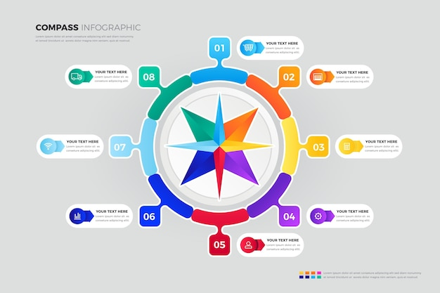 Creatieve kleurrijke kompas infographic