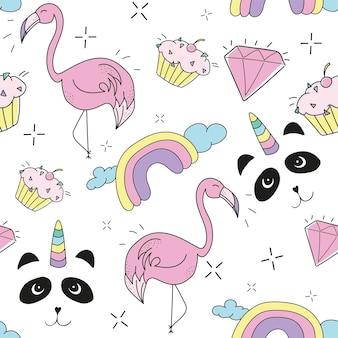 Creatieve kleurrijke kunst die naadloze eindeloze herhalende patroontextuur trekt met elementen zoals pandicorn, ananas, regenboog, cupcake
