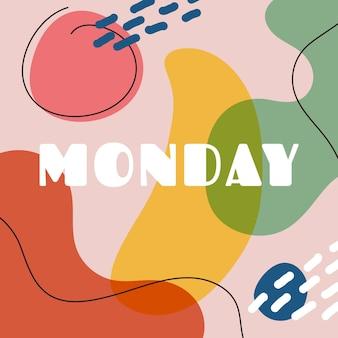 Creatieve kleurrijke maandag belettering