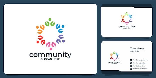 Creatieve kleurrijke sociale groepslogoset en visitekaartje