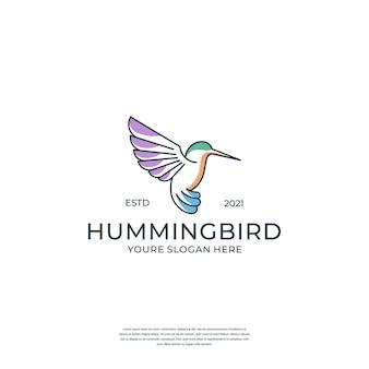 Creatieve kolibrie met lijnstijl logo ontwerpsjabloon