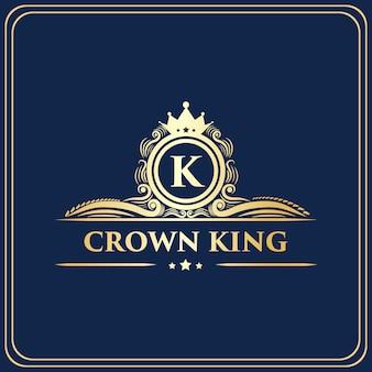 Creatieve koninklijke luxe vintage stijl monogram kroon concept logo ontwerpsjabloon sjabloon