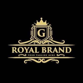 Creatieve koninklijke luxe vintage stijl monogram kroon concept logo ontwerpsjabloon
