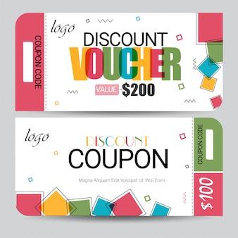 Creatieve kortingsbon, cadeaubon of coupon sjabloon lay-out.