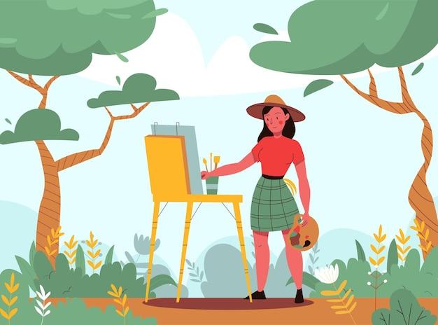 Creatieve kunstenaar achtergrond met schilder en landschap symbolen vlakke afbeelding