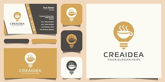 Creatieve lamp combineert koffiekopje concept, logo en visitekaartje ontwerp
