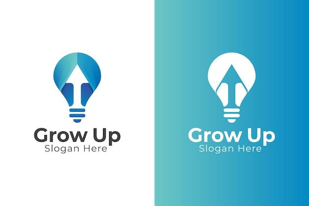 Creatieve lamp met pijl-omhoog symbool voor bedrijfsstatistieken logo-ontwerp