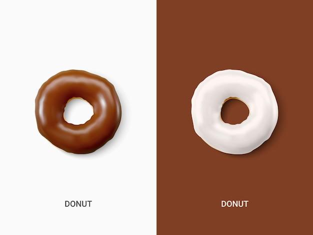 Creatieve lay-out van witte en chocolade donuts geïsoleerd op een lichte achtergrond. collectie van kleurrijke donuts. diverse geglazuurde donuts. voedingsconcept. vector illustratie.